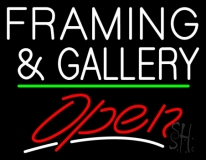 White Framing And Gallery With Open 2 LED Neon Sign