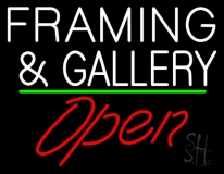 White Framing And Gallery With Open 3 LED Neon Sign