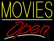 Yellow Movies Open LED Neon Sign