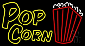 Yellow Popcorn With Logo LED Neon Sign