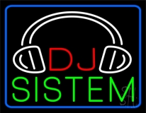 Dj  System  With Logo 3 LED Neon Sign