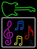 Musical Notes With Guitar Logo 2 LED Neon Sign
