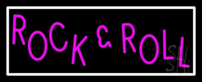Pink Rock N Roll With White Border LED Neon Sign