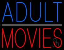 Blue Adult Red Movies LED Neon Sign