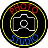 Photo Studio With Camera Logo Circle LED Neon Sign