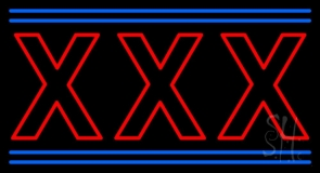 Red Xxx Blue Lines LED Neon Sign