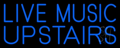 Blue Live Music Upstairs LED Neon Sign