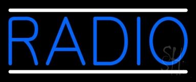 Blue Radio Music White Line LED Neon Sign