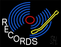 Blue Records Block LED Neon Sign