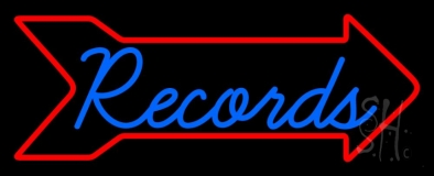 Blue Records In Cursive 1 LED Neon Sign