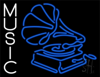 Gramophone Music 1 LED Neon Sign