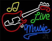 Live Green Music Blue 2 LED Neon Sign