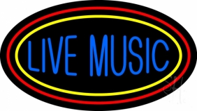 Live Music With Yellow Red Border 1 LED Neon Sign