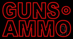Red Guns Ammo LED Neon Sign
