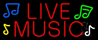 Red Live Music 1 LED Neon Sign
