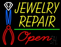Yellow Jewelry Repair Red Open Block LED Neon Sign