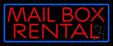 Block Mail Box Rental Blue Border LED Neon Sign