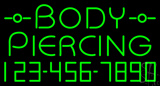 Green Body Piercing with Phone Number LED Neon Sign