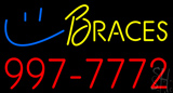 Yellow Braces Red Phone Number LED Neon Sign