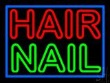 Double Stroke Hair Nail Blue Border LED Neon Sign