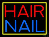 Hair Nail Yellow Border LED Neon Sign