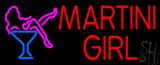 Red Martini Girl with Logo LED Neon Sign