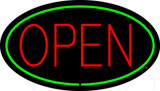Red Open Green Oval LED Neon Sign