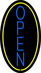 Vertical Open with Oval LED Neon Sign