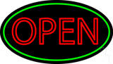 Double Stroke Open Green Oval LED Neon Sign