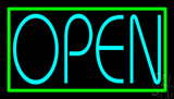 Turquoise Open Green Open LED Neon Sign