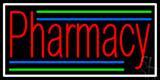 Red Pharmacy White Border LED Neon Sign