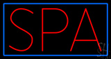 Red Spa Blue Border LED Neon Sign